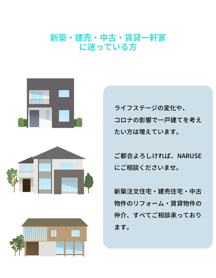 住宅購入を迷う方はNARUSEにご相談ください